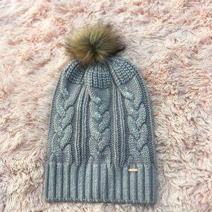 Free People knit beanie with furry pompom